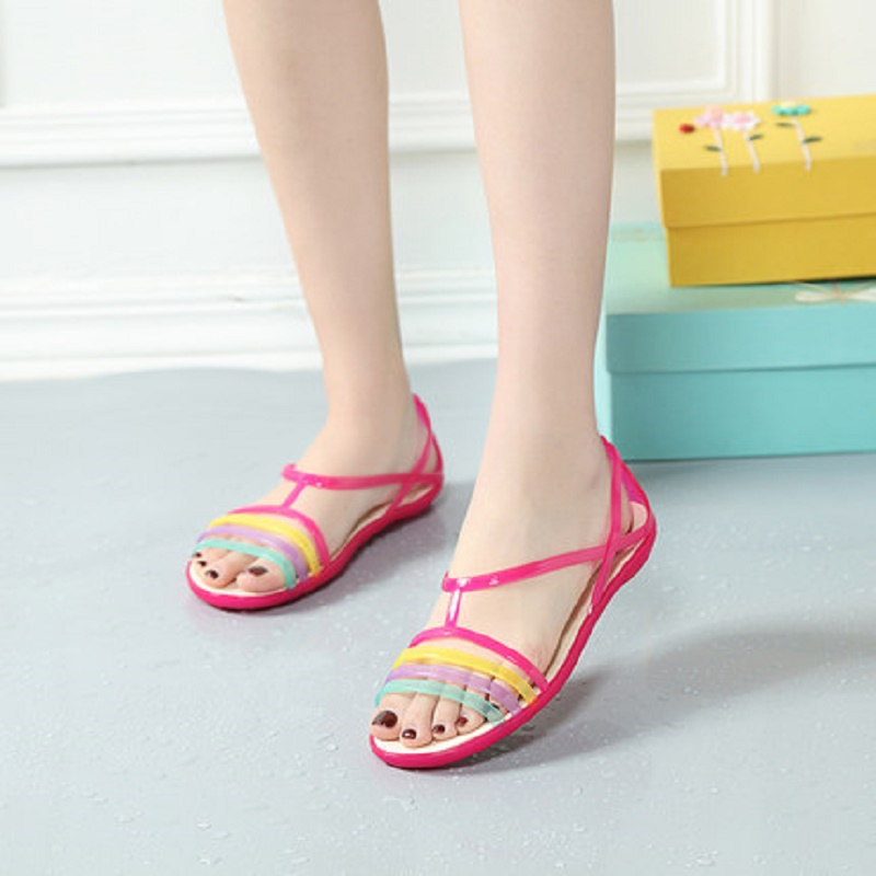 Sandals Shoes Female Large-Size Fashion Women's New Summer Open-Toe Flat-Bottom Fish-Mouth