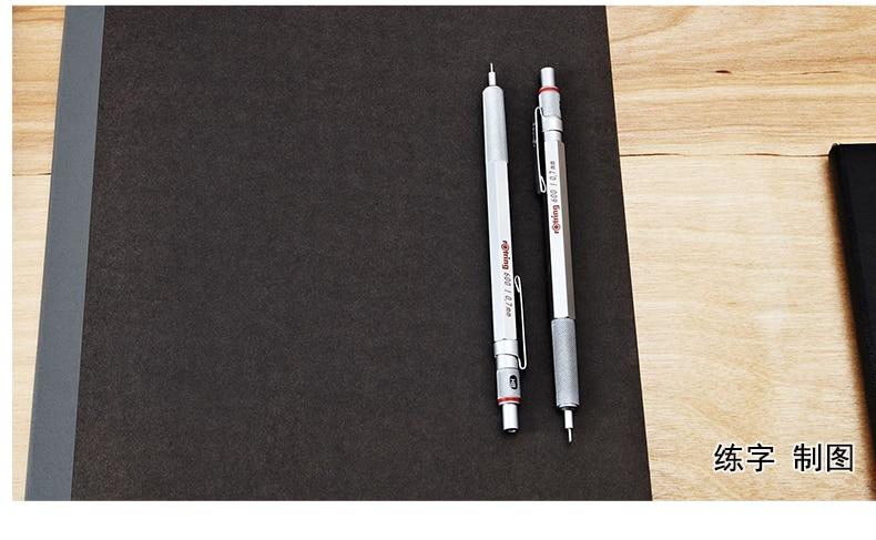 Rotring 600 0.50.7mm metal lápis mecânico pratapreto