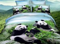 3D Panda Bedding Set Queen Size 100 Cotton Bed In A Bag Bamboo Sheets Quilt Duvet