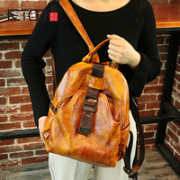 AETOO Retro Bag New College Wind Leather Leather Backpack Wild British Wind Leather Shoulder Bag