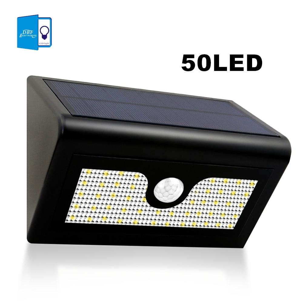 все цены на [DBF]50 LED Solar Powered Motion Sensor Light Outdoor Waterproof led Solar Spotlight Led Garden lampada street light wall sconce онлайн
