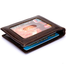 Thin Billfold Wallet Men Money Clips Real Leather 2 Folded Open Clamp for Holder Credit Card Case Cash Clip  & women clips