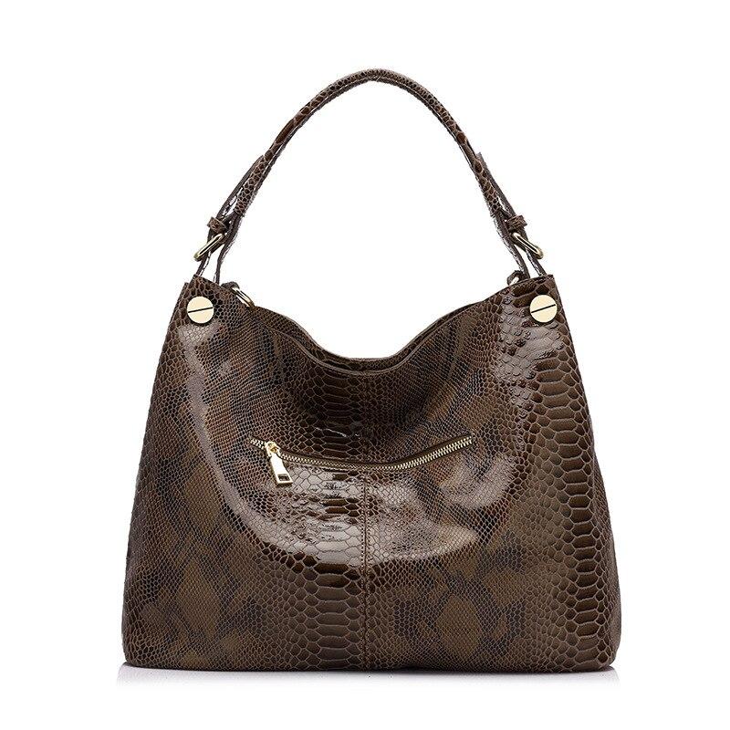 2018 nowe mody serpentyn kobiet torebki 100% krowa prawdziwej skóry panie torba na ramię prawdziwa skóra kobiet luksusowe Crossbody torba w Torebki na ramię od Bagaże i torby na  Grupa 1