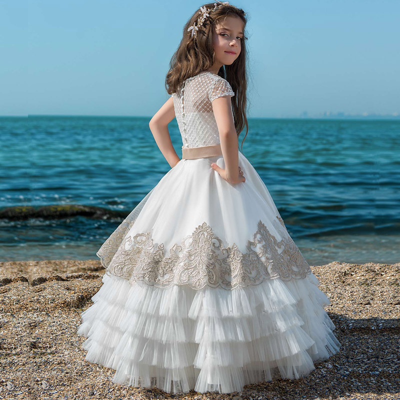New   Flower     Girl     Dress   Lace Appliques Cap Sleeve Ball Gowns with Beading Sash Wedding   Flower     Girls   First Communion   Dresses