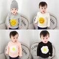 T-Shirt Da Menina Do Bebê Roupas de Inverno das crianças para as meninas Da Criança de Manga Comprida T-shirt de lã Além de veludo de Algodão ovos Sorriso rosto
