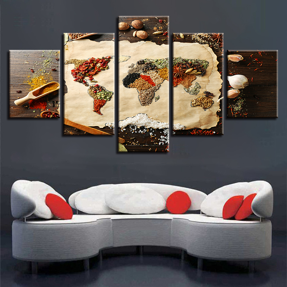 Canvas Paintings Living Room Wall Art Framed 5 Pieces Grains Spices World Map Pictures HD Prints Food Poster Modular Home Decor