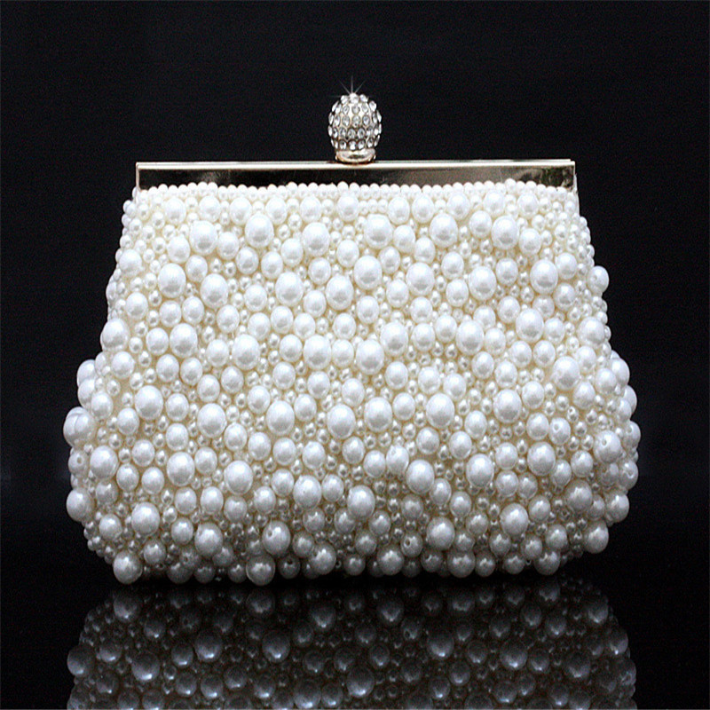 ᐂDe las mujeres perlas de imitación embrague noche bolsa monedero ...