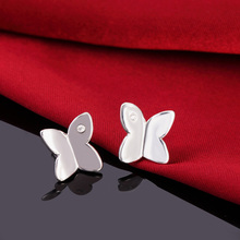 Silver Zircon Crystal Butterfly Design Earrings Jewelry For Women