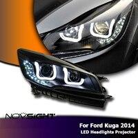 NOVSIGHT Pair Black Angel Eye Auto Car Light Assembly Projector Headlights Fog Light Bulbs DRL For Ford Kuga 2014