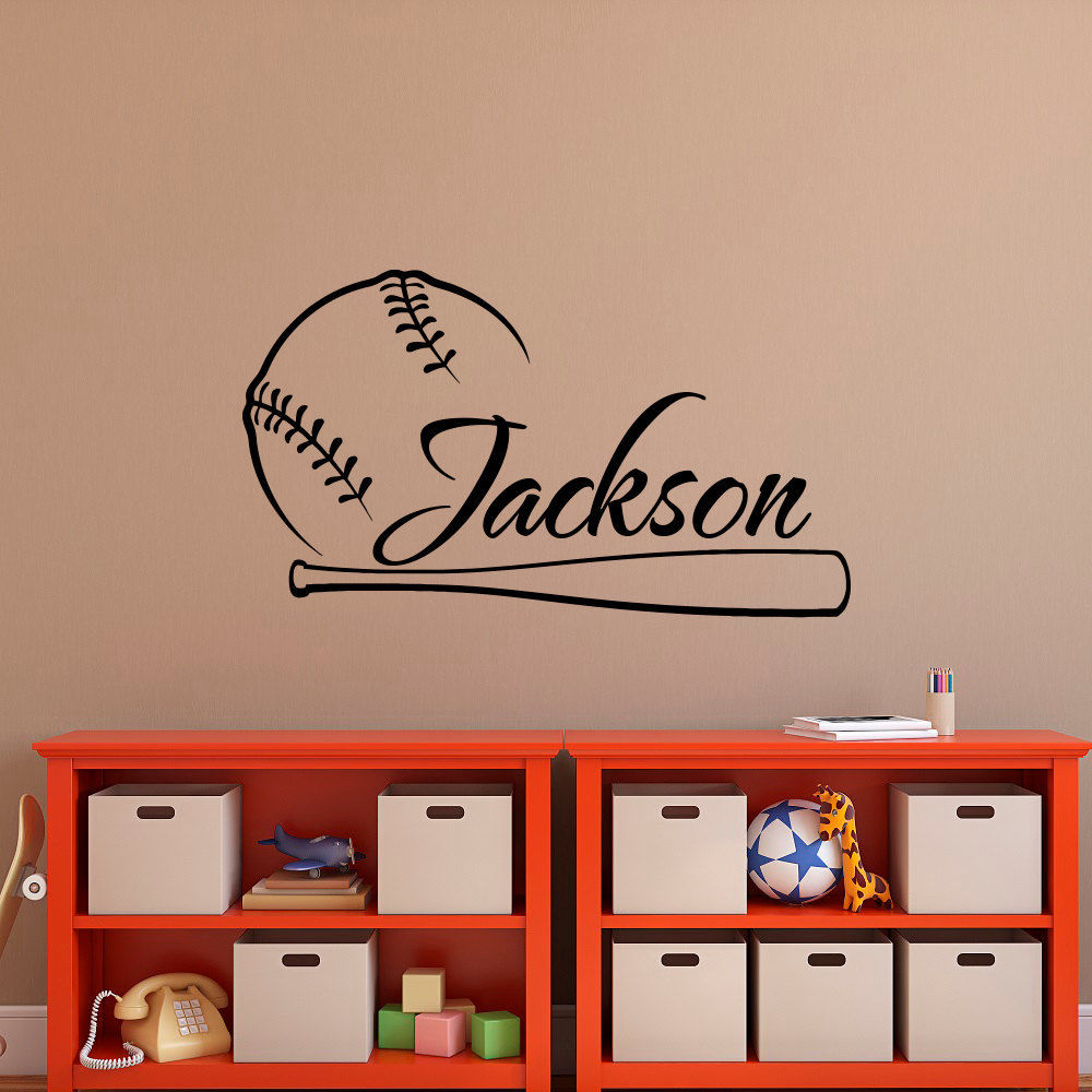 Home Decor Wall Decal For Kids Rooms Baseball Vinyl Sport Sticker Custom Personalized Name Boys Bedroom Poster NA01