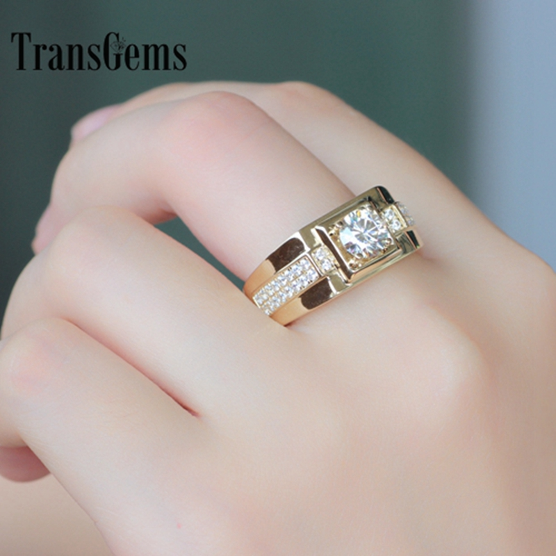 Transgems Brilliance Genuine 14k 585 Yellow Gold 1 Carat Ct F Color Engagement Wedding Ring For Man Ring Men Engagement Ring