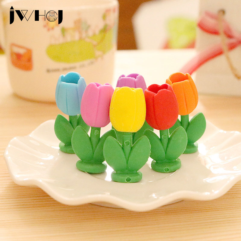 4 Pcs/lot  Lovely Tulip Flowers Modelling Eraser Kawaii Stationery School Office Correction Supplies Child's Toy Gifts