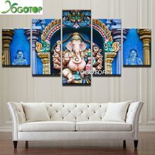 YOGOTOP DIY Diamond Painting Cross Stitch Kits Full Embroidery 5D Mosaic Indian religious elephant 5pcs ML195