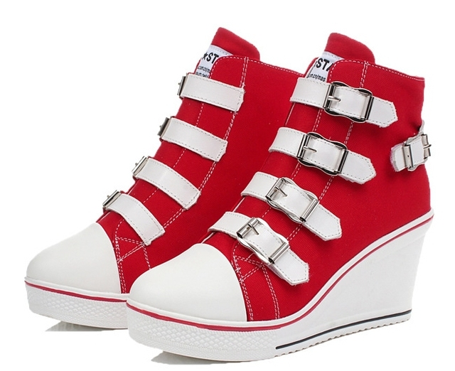 2017 Spring And Autumn New Canvas Shoes, High-Top Fashion Shoes Europe Increased Permeability wedge Large Size Shoes wedges