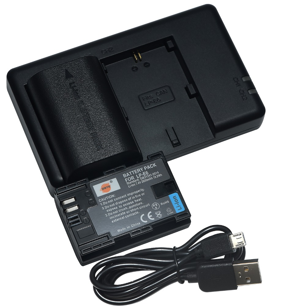 DSTE Dual Slot del Caricatore con 2 PCS LP-E6 Batteria per CANON EOS 5DS R 5D Mark II 5D Mark III 6D 7D 60D 60Da