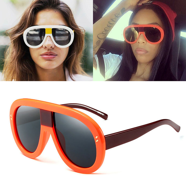 210c4f5e56da4 JackJad 2017 Novos Das Mulheres Da Forma de Grandes Dimensões Estilo Escudo  Óculos De Sol Quente