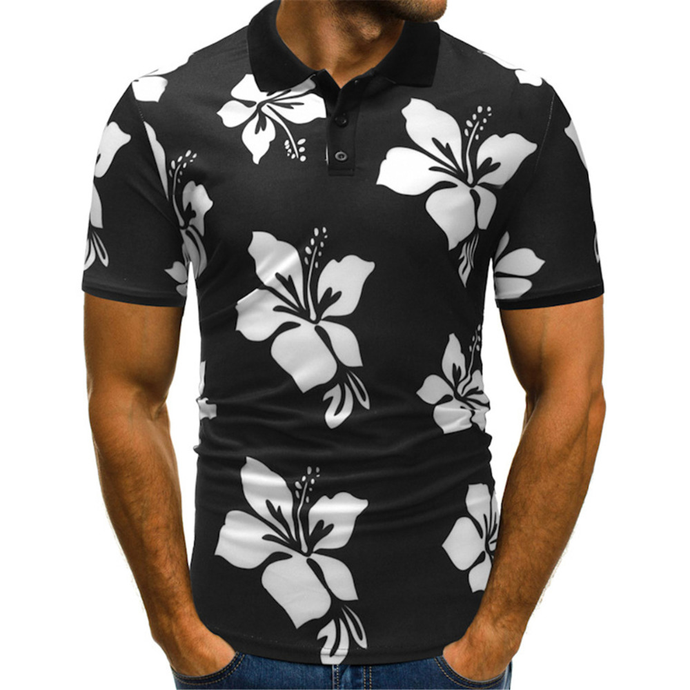 NIANJEEP 2018 Brand Male   Polo   Shirt clothes Flowers Print Short Sleeve Slim Fit Men   Polo   Shirts Casual quick dry black Homme