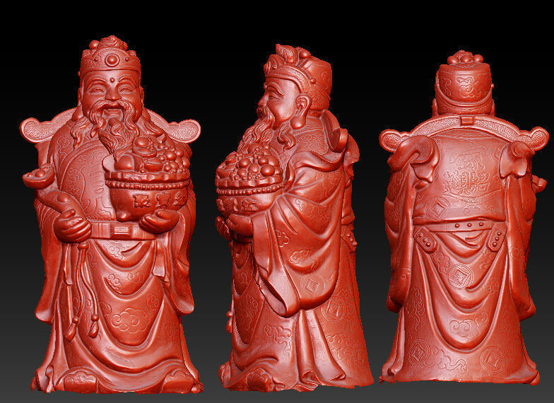 3D Model For Cnc 3D Carved Figure Sculpture Machine In STL File Format The Chinese Culture,The God Of Wealth
