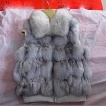 2016 short design female fox fur vest leather waistcoat outerwear plus size fur vest women coat sleeveless Elasticity CW2755