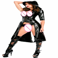 New Sexy Lingerie Patent Leather Jumpsuits Black Windbreaker Cloak  One Sleeve Women Punk Gothic Fetish Dance Dress Catsuits 121