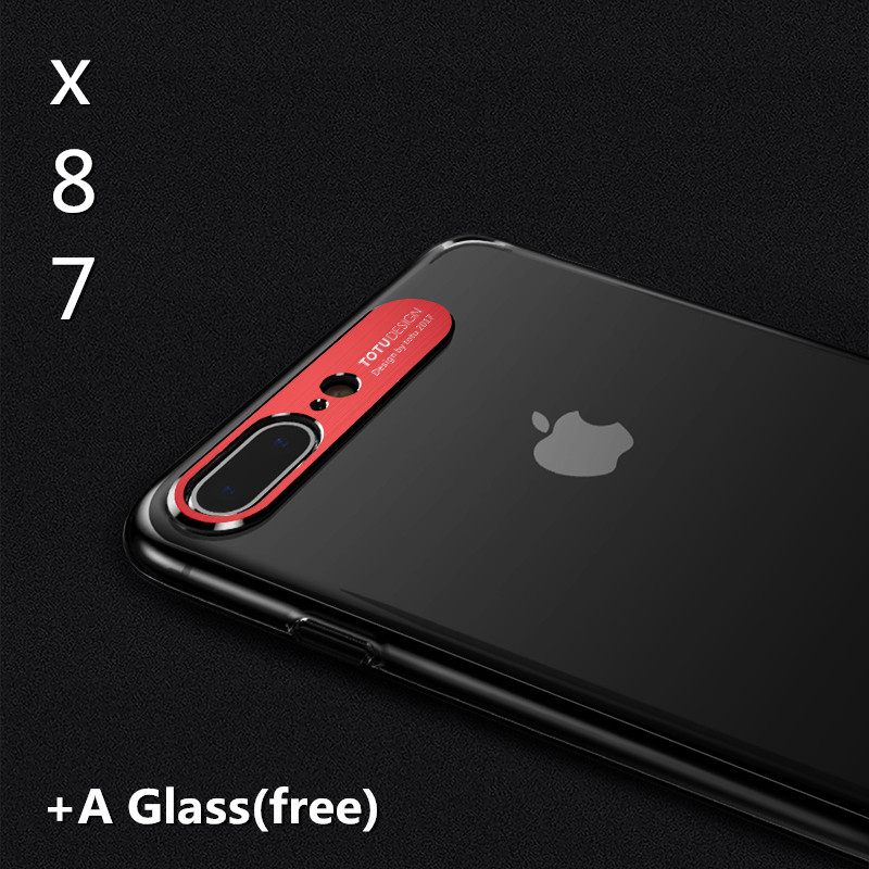 Transparent case+ a free glass for iphone 8 plus 8 case luxury Hard PC protective back cover for iphone 7 7plus 8 8plus X case