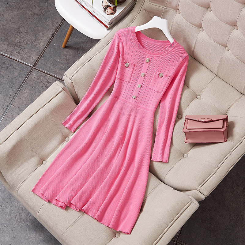 Women high-end pink knit sweater dress long sleeve diamonds buttons fit and flare cute dresses new 2018 autumn black