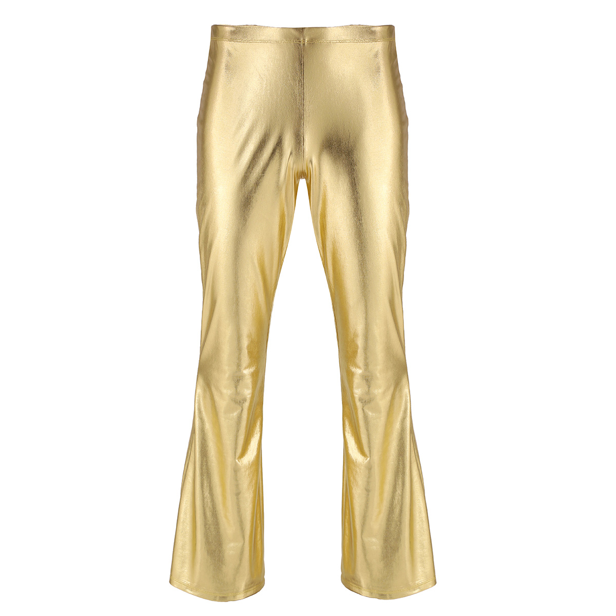 Adult Mens Moto Punk Style Party Pants Shiny Metallic Disco Pants with Bell Bottom Flared Long Pants Dude Costume Trousers 20