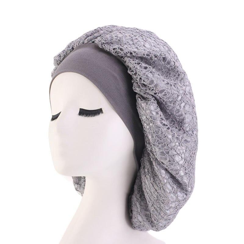doux et léger acheter populaire Achat/Vente US $4.41 10% OFF|2019 Double polyester solid color night cap mesh bonnet  wide elastic cap 6 colors turban cap for women 66-in Women's Skullies & ...