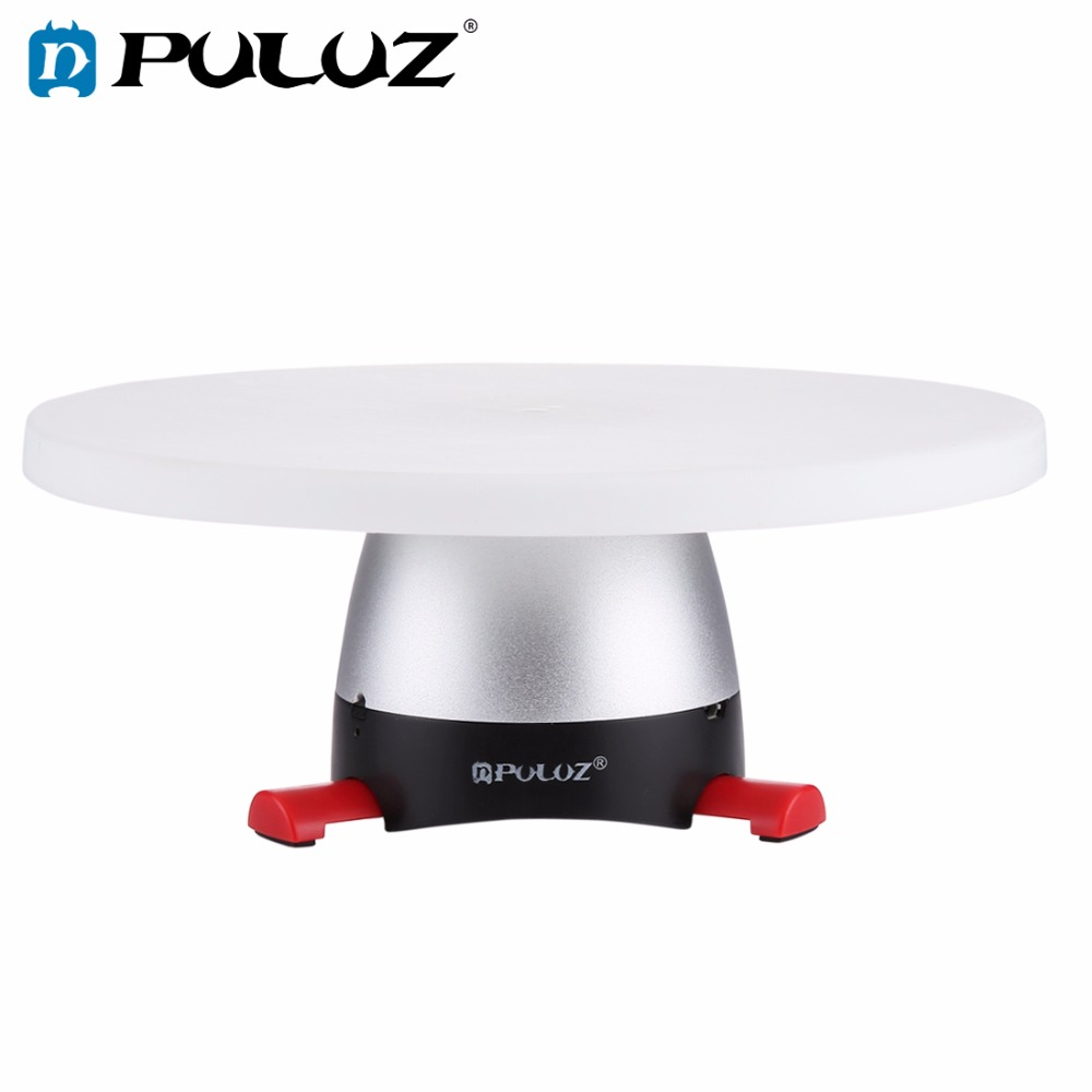 PULUZ Electronic 360 Degree Rotation Panoramic Tripod Head (Red)+Round Tray With Control Remoter Fit For Shooting Small Products