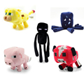 5pcs/lot Minecraft Plush Toys Movie & TV Minecraft Creeper Enderman Squid Mooshroom Ocelot Pig Plush Stuffed Toys Gift For Kids