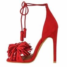 2016 New vogue Customize Solid Stiletto Women's Shoes Lace Up High Heel Tassel Sandals Fringe Peep toe pumps large size5-15