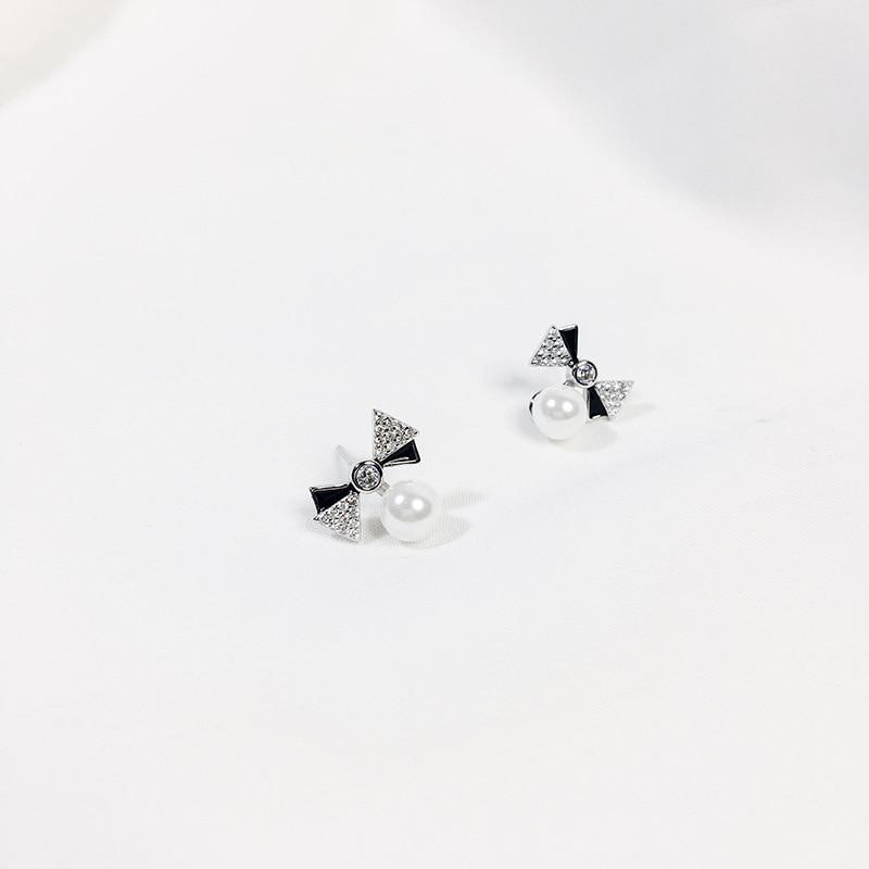 Korean glitter cubic zircone enemal bowknot with sea pearl Stud earrings sterling silver 925 for women jewelry 2019 in Stud Earrings from Jewelry Accessories