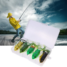 5Pcs New Style Soft Toad Frogs Bass Fishing Lure Soft Plastic Hollow Fishing Lure Crankbait Hooks  5.5CM 8G With Box Wholesale