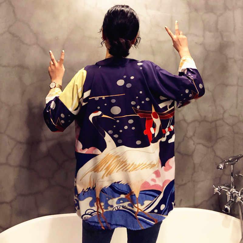 Kimono kadın 2019 japon kimono hırka cosplay gömlek bluz kadınlar için Japon yukata kadın yaz plaj kimono