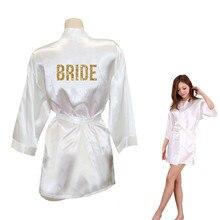 """Отряд """"невеста"""" Золотой блестящий принт кимоно халаты искусственный шелк для женщин девичник Свадьба Wear Одежда Pajamass"""