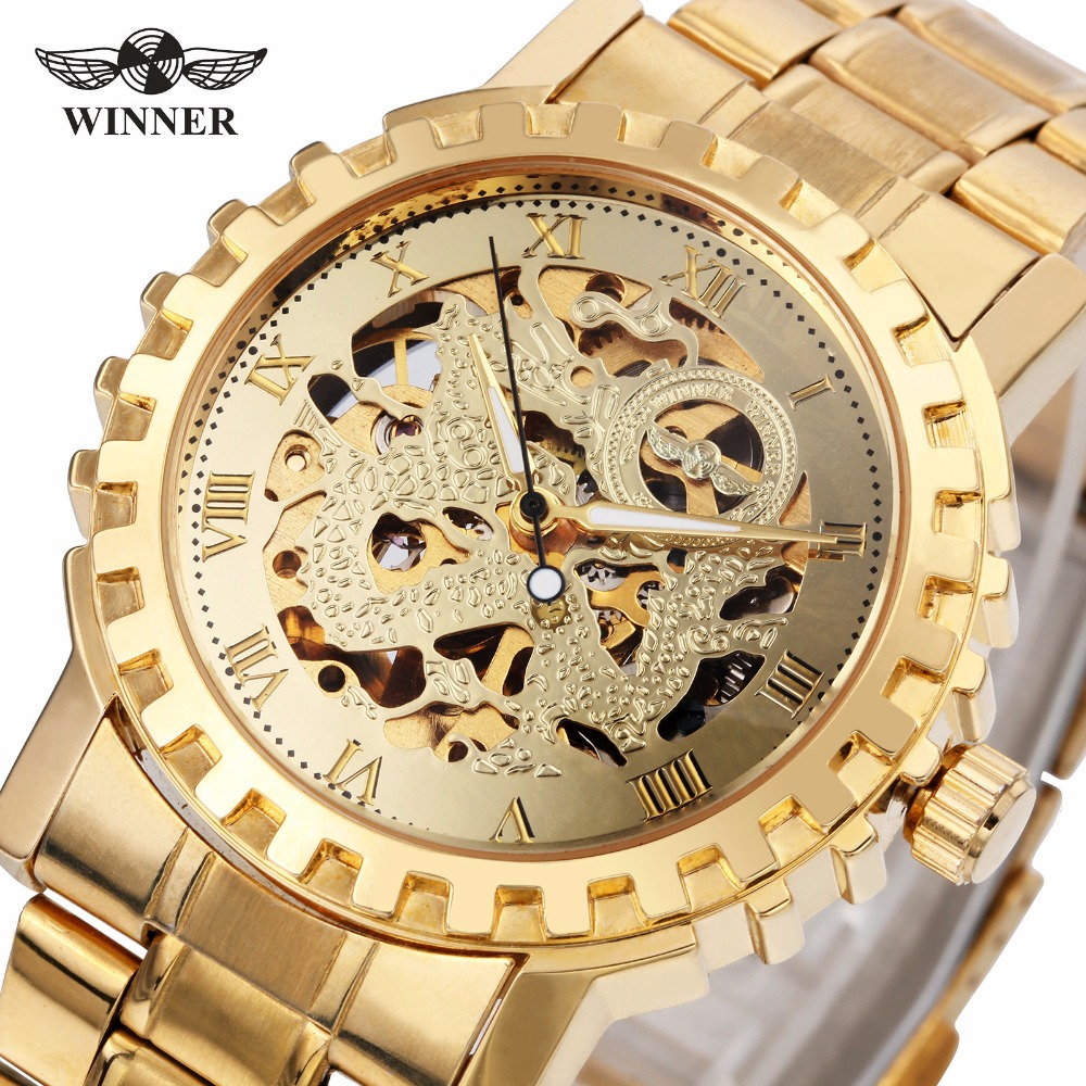 WINNER Men Luxury Dress Automatic Mechanical Watch Stainless-steel Strap Skeleton Roman Number Dial 3D Gear Bezel Design + BOX