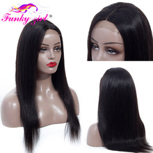 Funky Girl Lace Front Human Hair Wigs Pre-Plucked With Baby Hair Brazilian Wig 4x4 Straight Lace Closure Wig Non Remy Lace Wig(China)