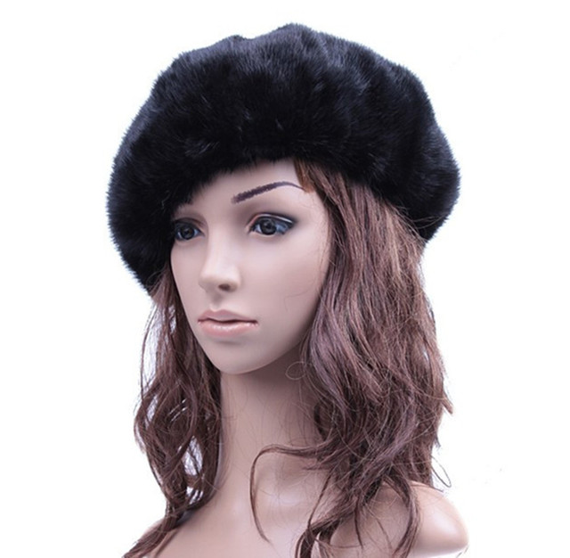 Wholesale French Beret Hat Female Real Mink Fur Hat Fashion Hat Brand Women Winter Warm Black Hats Solid Color