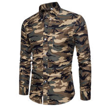 New Arrive 2018 Brand Men Shirt Camouflage Dress Shirt 8 Long Sleeve Slim Fit Camisa Masculina Casual Male Camisa Men Shirts 3XL