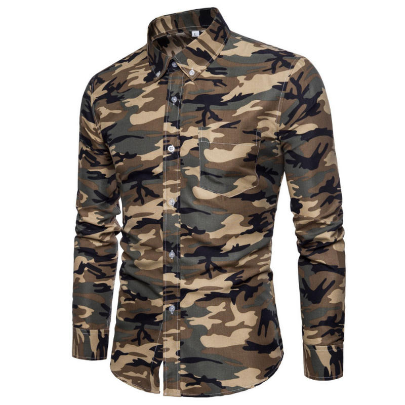 New Arrive 2019 Brand Men Shirt Camouflage Dress Shirt 8 Long Sleeve Slim Fit Camisa Masculina Casual Male Camisa Men Shirts 3XL