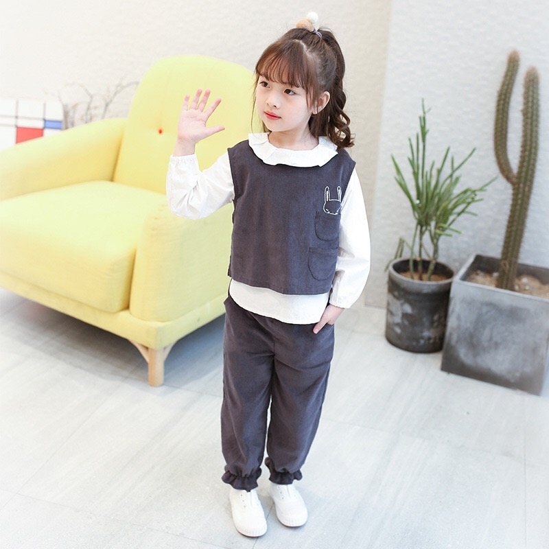 New Baby Girls Autumn Set  2017 Kids Three Pieces Set Children Shirt + Vest + Pants Fashion Comfortable Toddler Suit,3-8Y,#2214 free shipping winter autumn children clothing set leisure three pieces sweater vest pants boy sport suit
