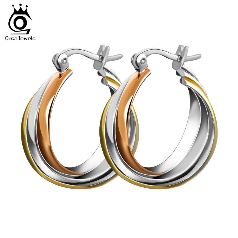 ORSA JOYAUX Bijoux De Mode de Haute Qualité Titane Acier Coloré Tordu Conception Femmes de Boucles D'oreilles OTE15
