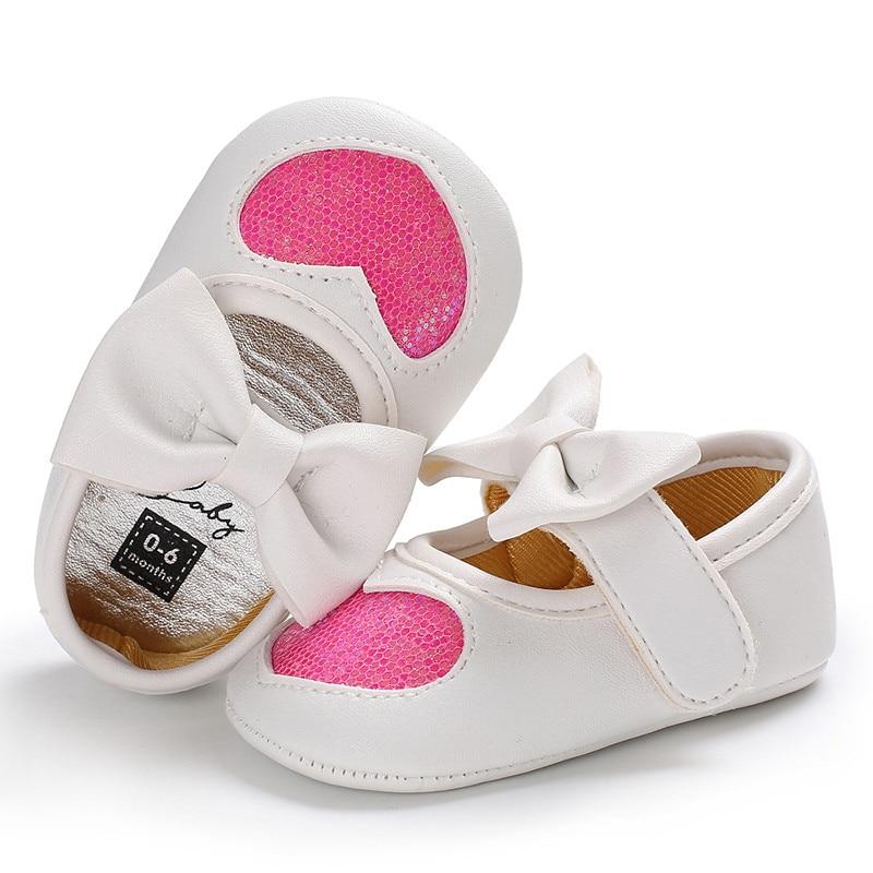 Новорожденных с бантом для маленьких девочек противоскользящие кожаная обувь детская кроватка Твердые блестками бантом обувь на липучке 4 стиль наряд сезон: весна–лето