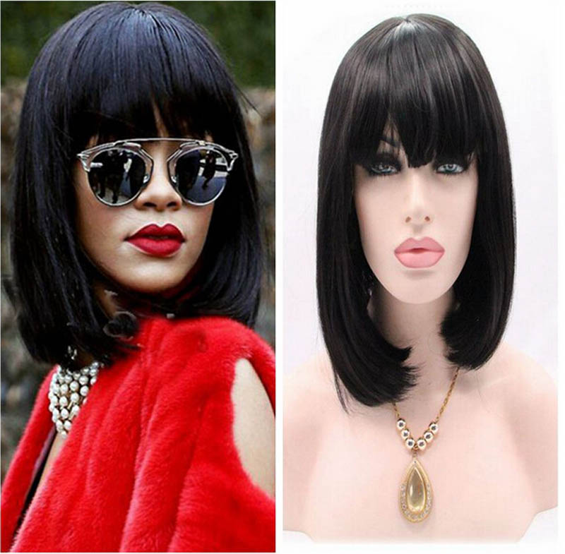 купить new arrival natural black hair wig synthetic lace front wigs black bobo with bang for blck women heat resistant fiber