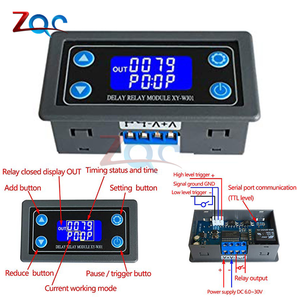 DC12V 12V LED Digital Time Delay Relay Module Programmable Timer Relay Control Switch Timing Trigger Cycle with Case for Indoor