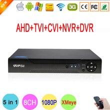 1080 P Câmera de CCTV 2mp 1080N 8 Channel 8CH Vigilância de Vídeo Gravador Híbrido 5 em 1 WI-FI Onvif NVR CVI TVI AHD DVR Frete Grátis