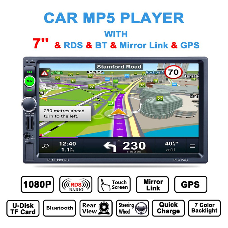 "Vehemo 2 din car radio 7"" HD Player MP5 With GPS Touch Screen Digital Display Bluetooth Multimedia USB hands-free calling"