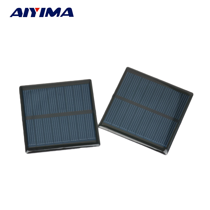 Aiyima 5Pcs Solar Panel DIY Photovoltaic Solar Cell Car Charger Lamp Light Sun Power Sunpower Solar Charger 63*63mm 4V 90mA