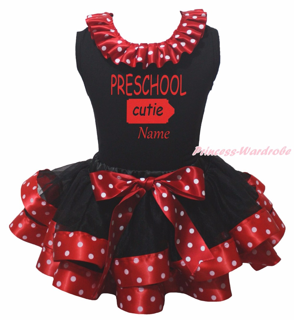 Personalize PRESCHOOL CUTIE Top Red White Dot Black Satin Trim Girl Skirt NB-8Y rhinestone happy easter white top shirt hot pink bunny rabbit satin trim baby girl skirt set 1 8y mapsa0494