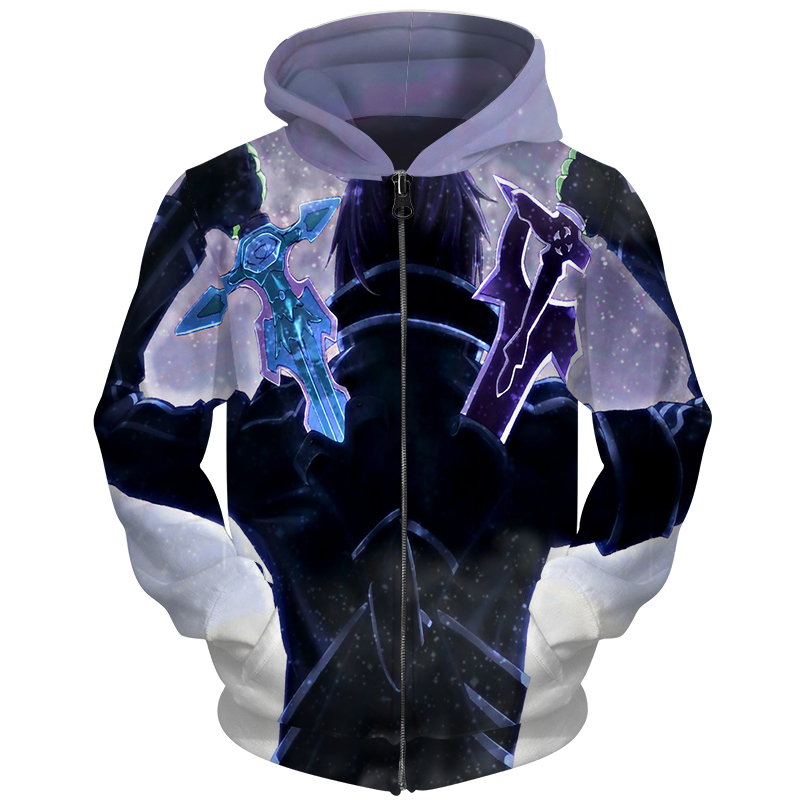 Cloudstyle 2018 新秋 3D ジッパーパーカーメンズスウェット 3D 印刷アニメ剣 SAO プルオーバー男性女性ジャージジップトップス  グループ上の メンズ服 からの パーカー & スウェット の中 1